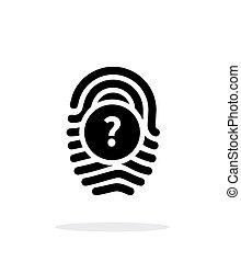 Question mark, FAQ sign. Fingerprint icon on white...