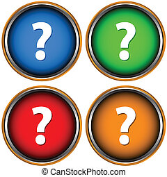 Question mark - Four multi-colored web icons on a white...