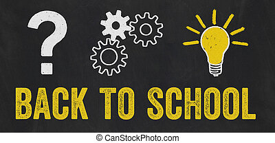 Question Mark, Gears, Light Bulb Concept - Back to school