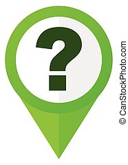 Question mark green flat design pointer vector icon isolated on white background