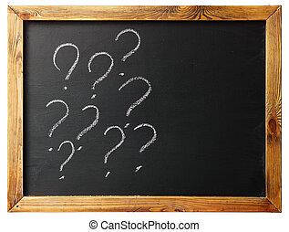 question mark handwritten on a blackboard