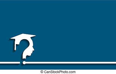 Question mark head with Education Cap, vector