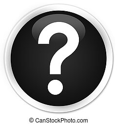 Question mark icon black glossy round button