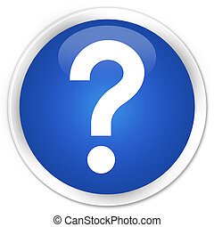 Question mark icon blue glossy round button