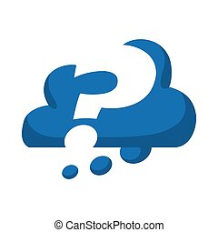 Doubt concept represented by Question mark inside cloud icon. Isolated and flat illustration