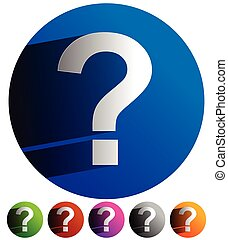 Question mark icon for related themes. Support, problem,...