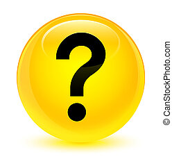 Question mark icon glassy yellow round button