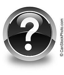 Question mark icon glossy black round button