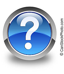 Question mark icon glossy blue round button