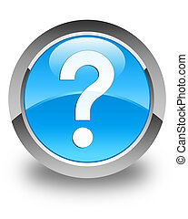 Question mark icon glossy cyan blue round button