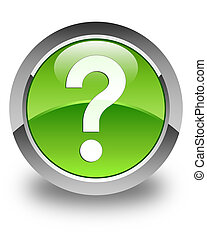 Question mark icon glossy green round button