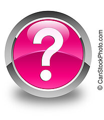 Question mark icon glossy pink round button
