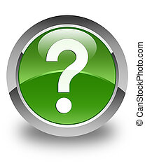 Question mark icon glossy soft green round button