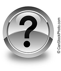 Question mark icon glossy white round button