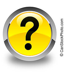 Question mark icon glossy yellow round button
