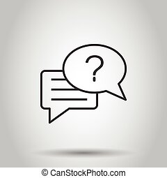 Question mark icon in flat style. Discussion speech bubble vector illustration on white isolated background. Faq business concept.