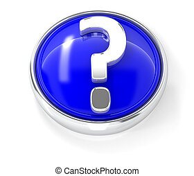 Question mark icon on glossy blue round button