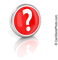 Question mark icon on glossy red round button