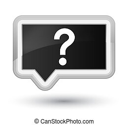 Question mark icon prime black banner button