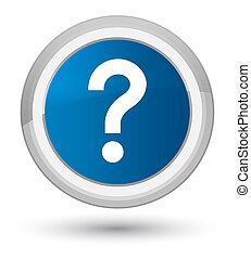 Question mark icon prime blue round button