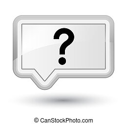 Question mark icon prime white banner button
