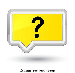 Question mark icon prime yellow banner button