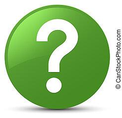 Question mark icon soft green round button
