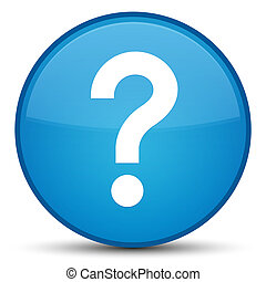 Question mark icon special cyan blue round button