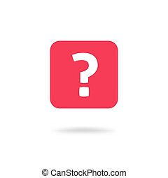 Question mark icon vector illustration, flat red ask symbol or button isolated pictogram