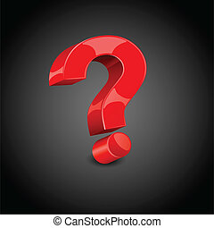 illustration of question mark on abstract black background