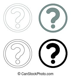Question mark in a circle the black and grey color set icon .