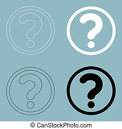 Question mark in a circle the black and white color icon .