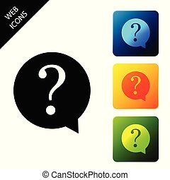 Question mark in circle icon isolated. Hazard warning symbol. FAQ sign. Copy files, chat speech bubble and chart web icons. Set icons colorful square buttons. Vector Illustration