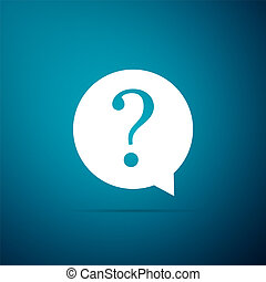 Question mark in circle icon isolated on blue background. Hazard warning symbol. Flat design. Vector Illustration