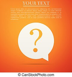 Question mark in circle icon isolated on orange background. Hazard warning symbol. Flat design. Vector Illustration
