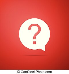 Question mark in circle icon isolated on red background. Hazard warning symbol. Flat design. Vector Illustration
