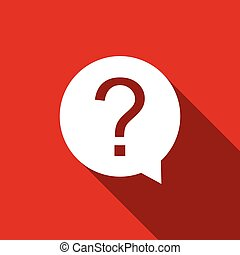 Question mark in circle icon isolated with long shadow. Hazard warning symbol. Flat design. Vector Illustration