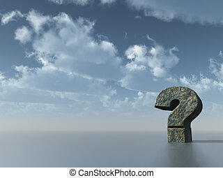 question mark in front of cloudy sky - 3d illustration