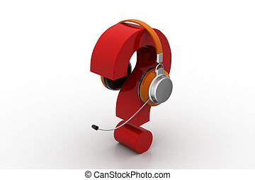 Question mark in headphones. on-line support concept