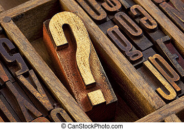 question mark in letterpress wood type