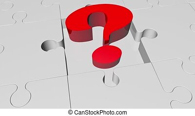 Question mark in red on puzzle