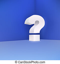 Question mark in the corner on a blue background