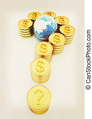 Question mark in the form of gold coins with dollar sign . 3D illustration. Vintage style.