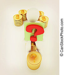 Question mark in the form of gold coins with dollar sign with 3d man . 3D illustration. Vintage style.