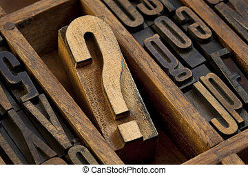question mark in vintage letterpress type