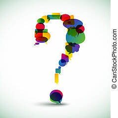 Question mark made from speech bubbles