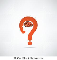 Question mark man head symbol