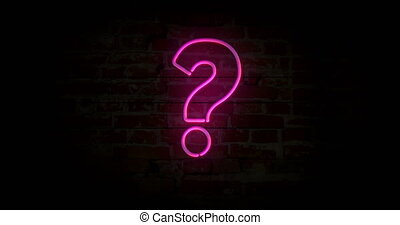 Question mark neon sign light on brick wall background....