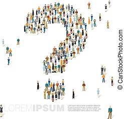 Question mark of people crowd. Vector template.