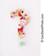 Question mark of pills